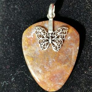 .925 Silver Butterfly Red Moss Agate Pendant